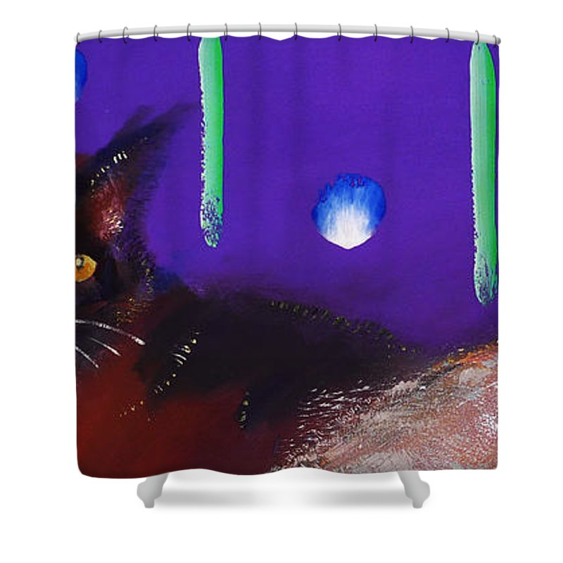 Cat Shower Curtain featuring the painting We Two Cats by Charles Stuart