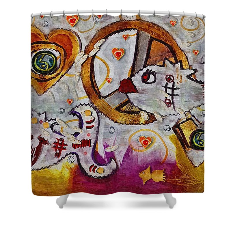 Seascape Shower Curtain featuring the mixed media We Wont You To Clean Our Water With Love by Pepita Selles