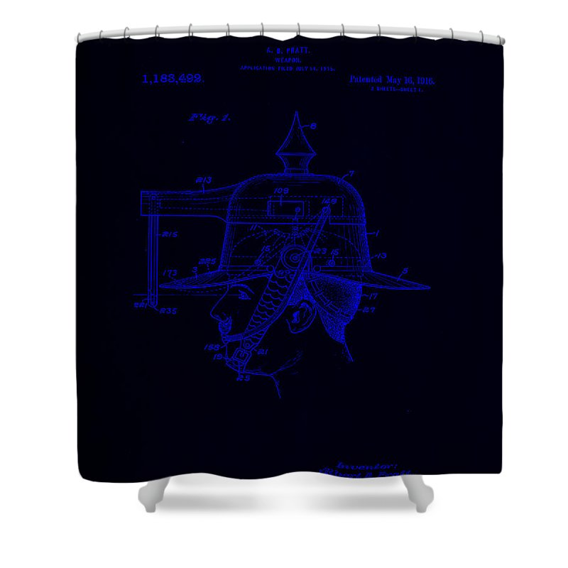 Patent Shower Curtain featuring the mixed media Weapon Patent Drawing 2f by Brian Reaves