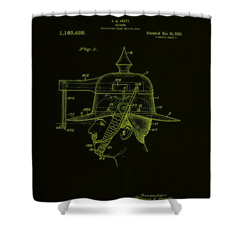 Patent Shower Curtain featuring the mixed media Weapon Patent Drawing 2h by Brian Reaves