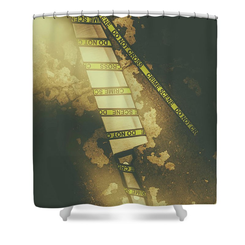 Murder Shower Curtain Featuring The Photograph Weapon Wrapped In Yellow Crime Scene Ribbon By Jorgo Photography