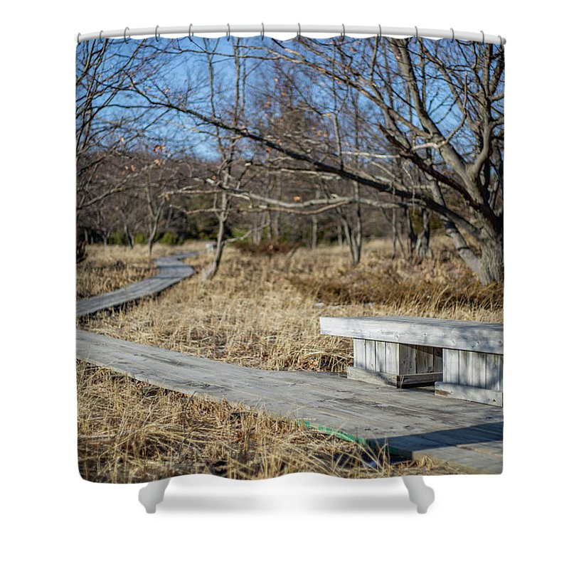 Access Shower Curtain featuring the photograph Weathered Path Through Dunes by Anton Shelepov