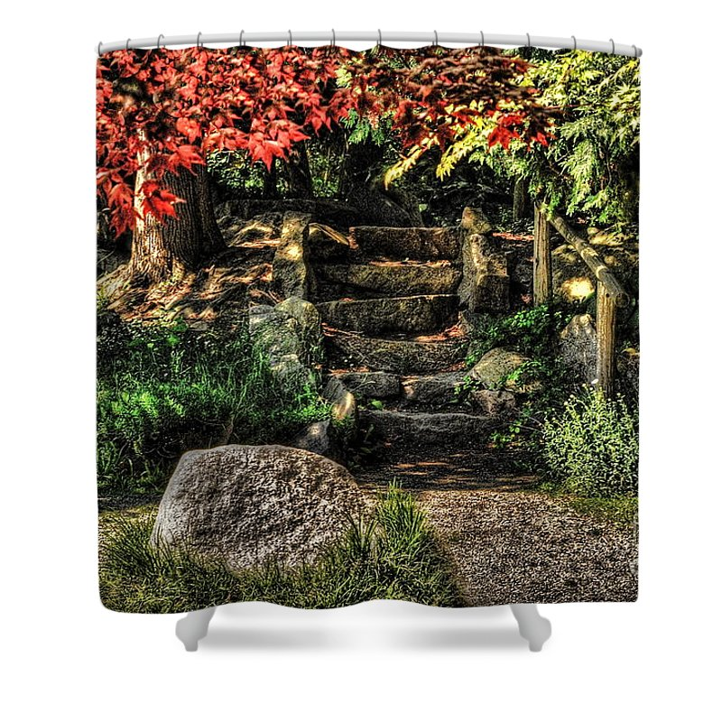 Stairway Shower Curtain featuring the photograph Weathered Stairway by Chris Fleming