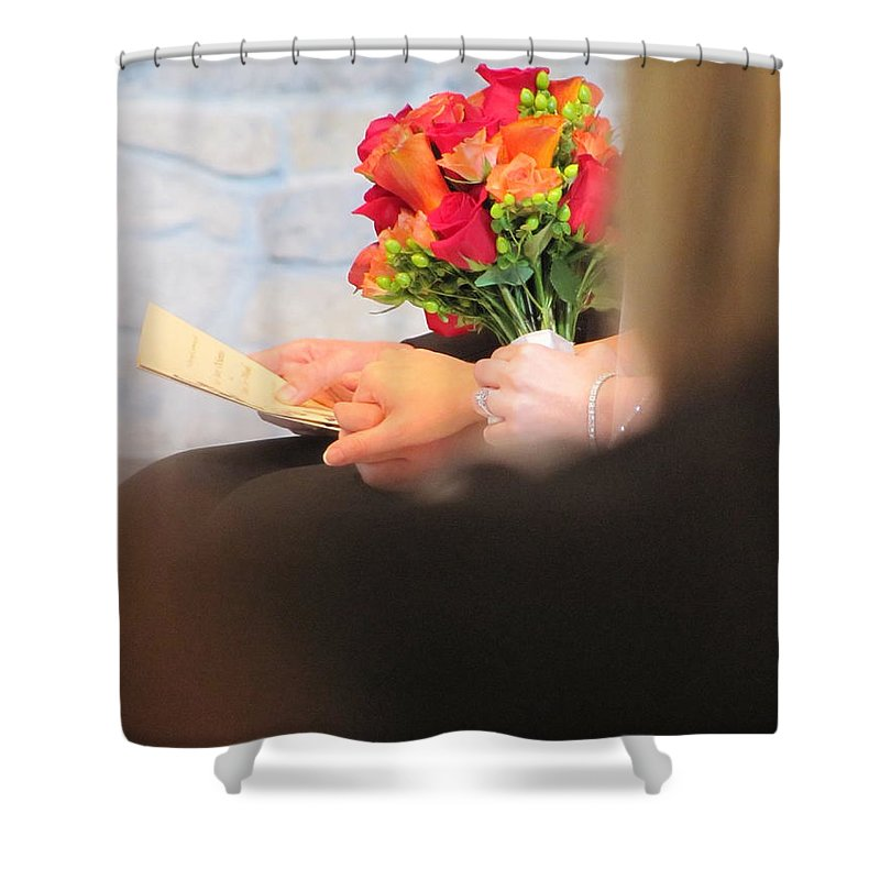 Wedding Shower Curtain featuring the photograph Wedding Hands by Kelly Mezzapelle