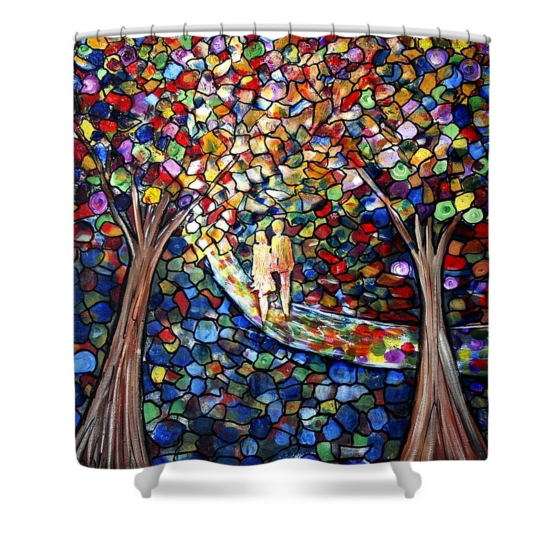 Romance Shower Curtain featuring the painting Wedding In The Park by Luiza Vizoli