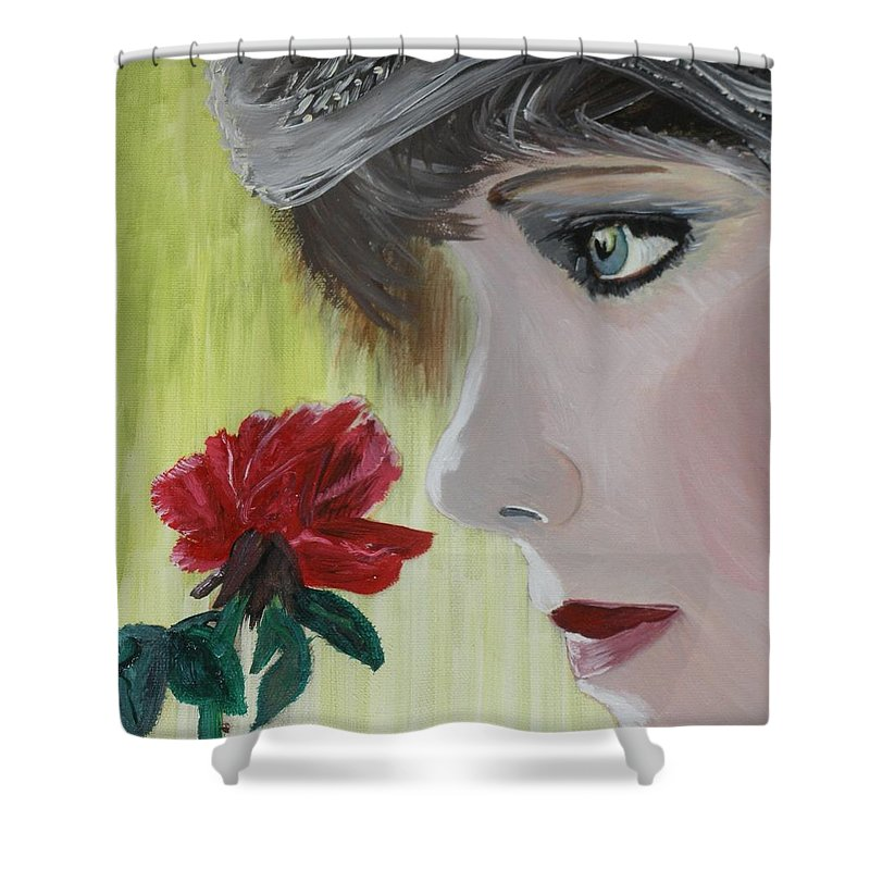 Romance Shower Curtain featuring the painting Wedding Rose by J Bauer