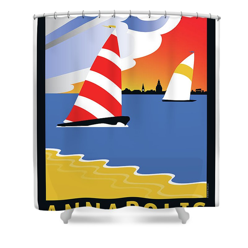 Sailing Shower Curtain featuring the digital art Wednesday Afternoon by Joe Barsin