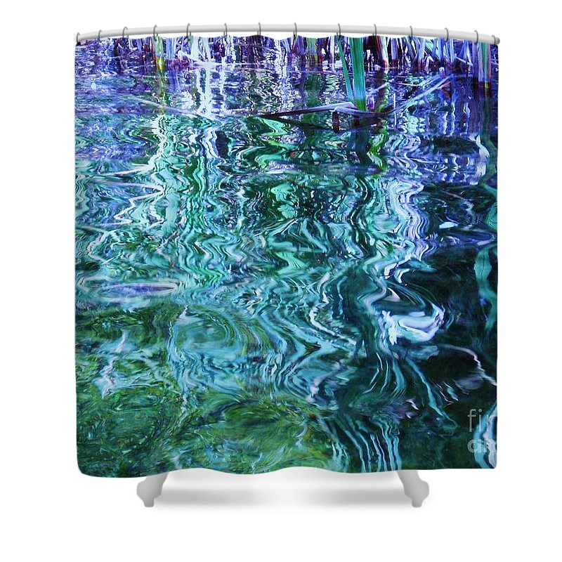 Photograph Blue Green Weed Shadow Lake Water Shower Curtain featuring the photograph Weed Shadows by Seon-Jeong Kim