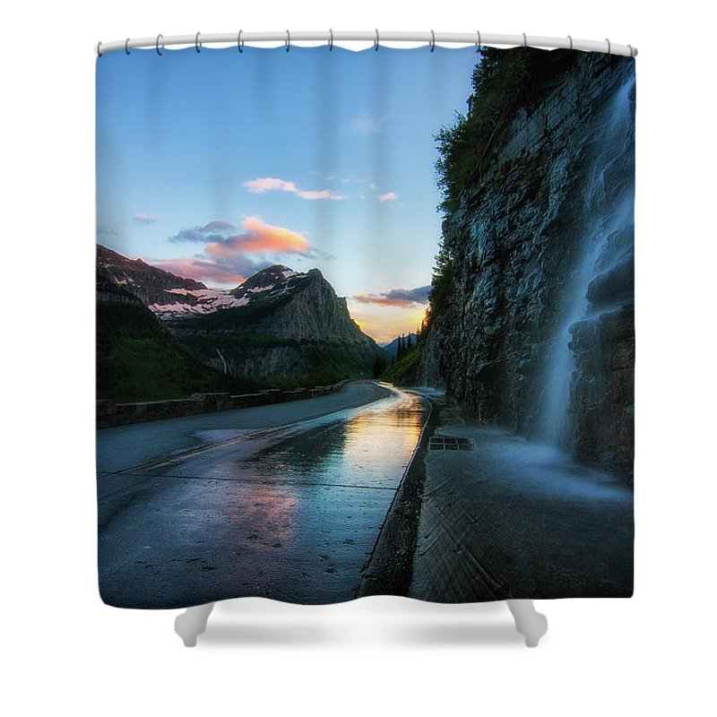 Glaciernationalpark Shower Curtain featuring the photograph Weeping Wall At Dusk by Alan Anderson