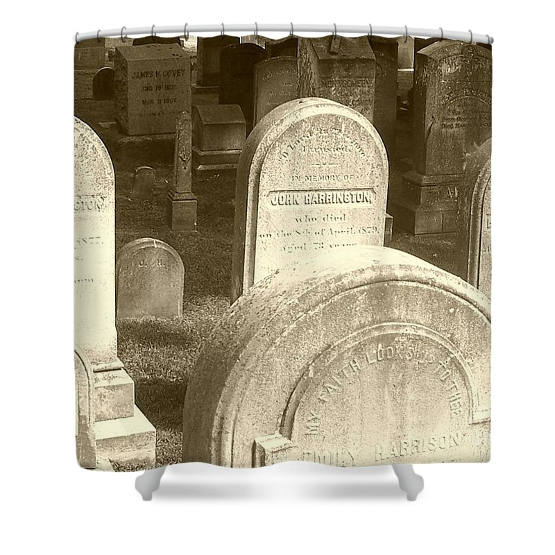 Cemetery Shower Curtain featuring the photograph Welcome by Debbi Granruth
