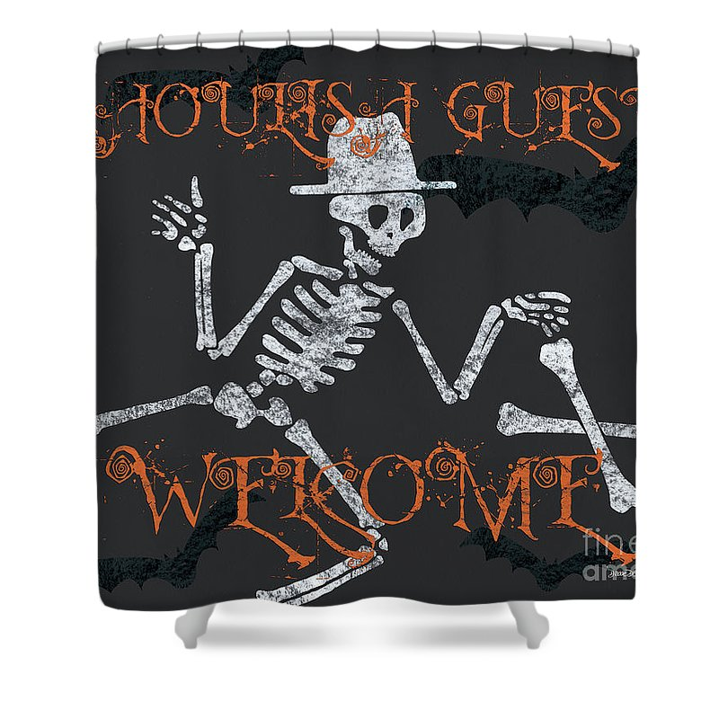 Halloween Shower Curtain featuring the painting Welcome Ghoulish Guests by Debbie DeWitt