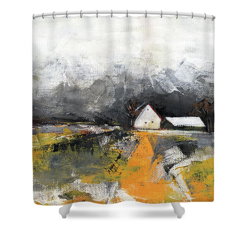 Landscape Shower Curtain featuring the painting Welcome Home by Aniko Hencz