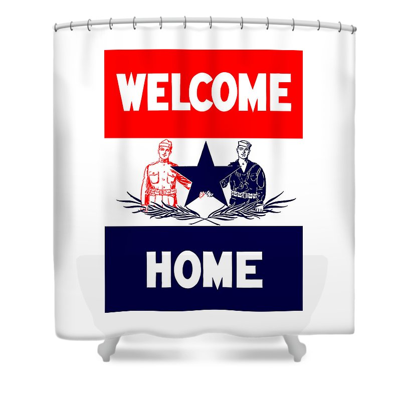 Ww1 Shower Curtain featuring the mixed media Vintage Welcome Home Military Sign by War Is Hell Store