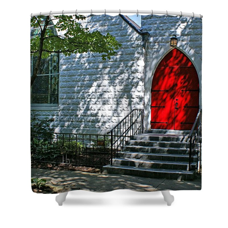 Church Shower Curtain featuring the photograph Welcome by Sandy Keeton