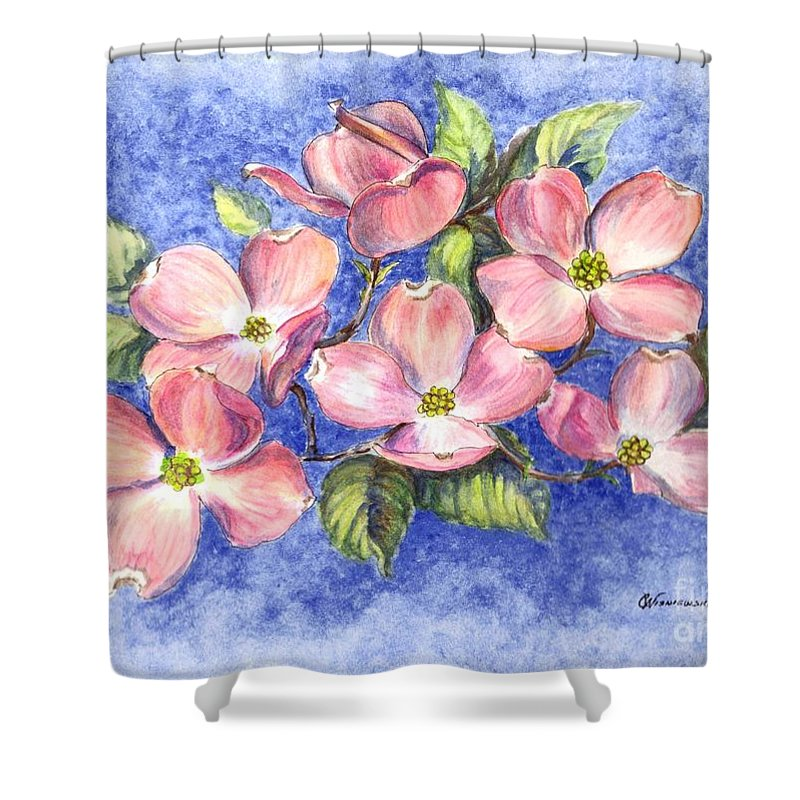 Spring Shower Curtain featuring the painting Welcome Spring by Carol Wisniewski
