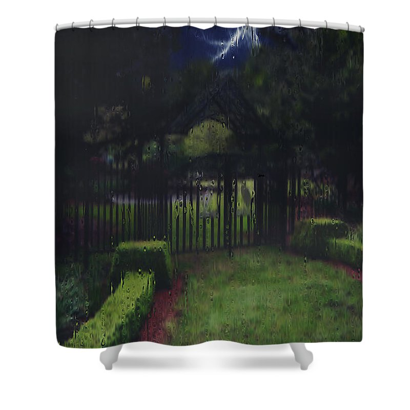 Landscape Shower Curtain featuring the painting Welcome To Dudleytown by RC DeWinter