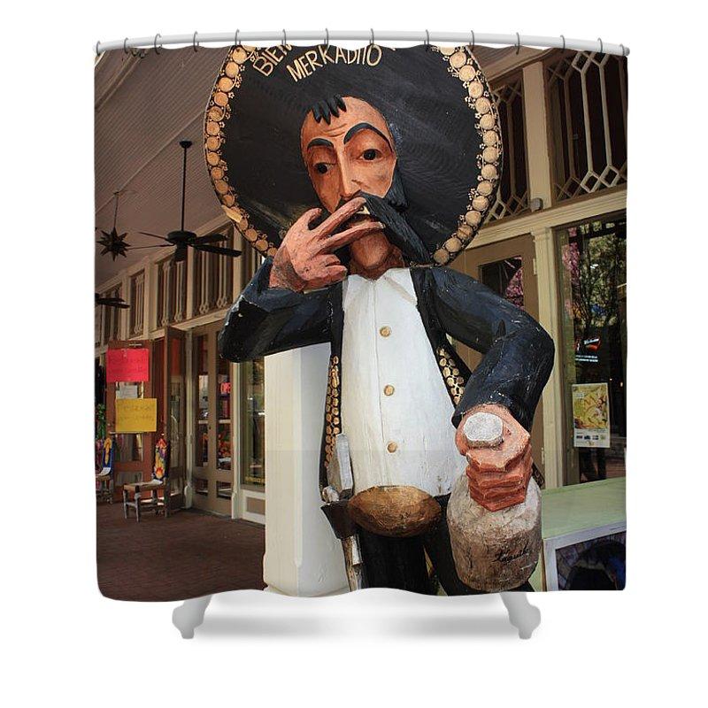 El Mercado Shower Curtain featuring the photograph Welcome to El Mercado by Carol Groenen