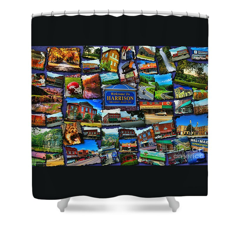 Harrison Shower Curtain featuring the digital art Welcome To Harrison Arkansas by Kathy Tarochione