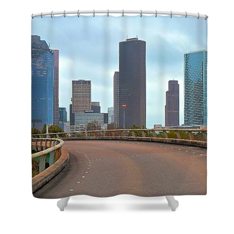 Houston Shower Curtain featuring the photograph Welcome To Houston by Skyline Photos of America