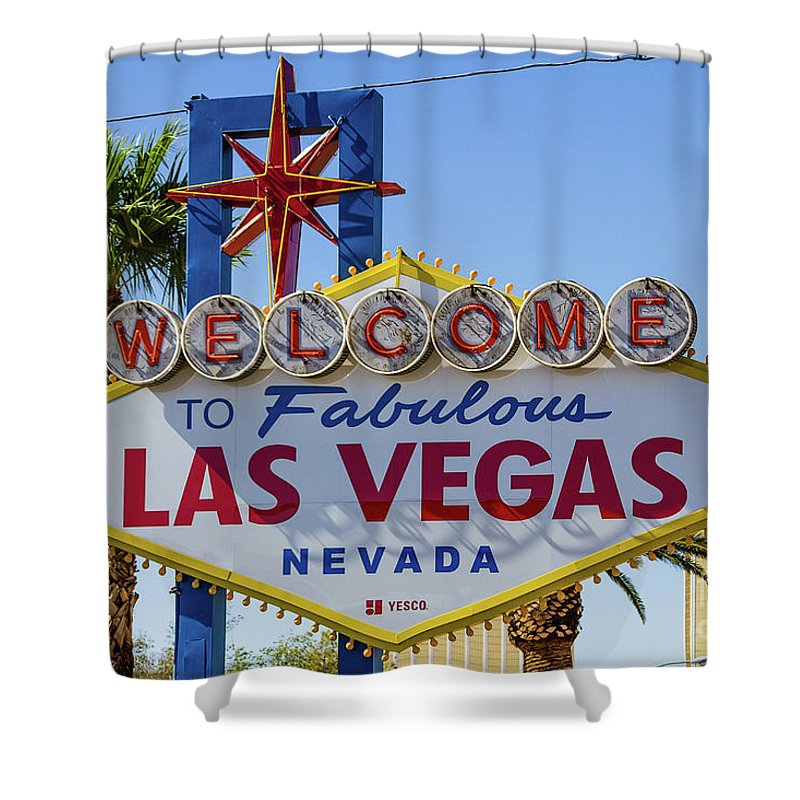 Las Vegas Shower Curtain featuring the photograph Welcome To Las Vegas by Mirko Chianucci