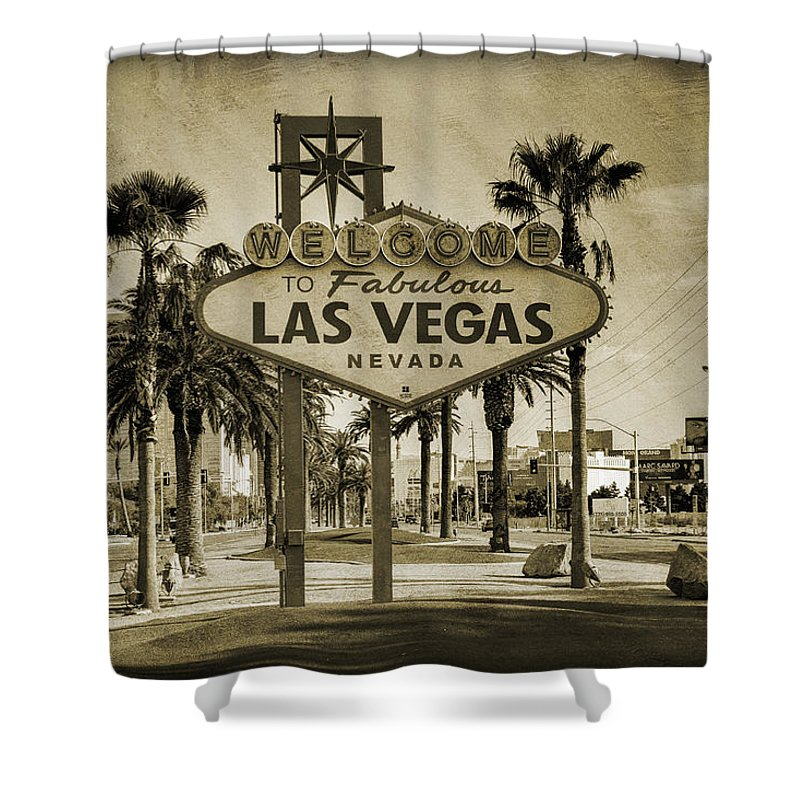 Las Shower Curtain Featuring The Photograph Welcome To Vegas Series Sepia Grunge By Ricky Barnard