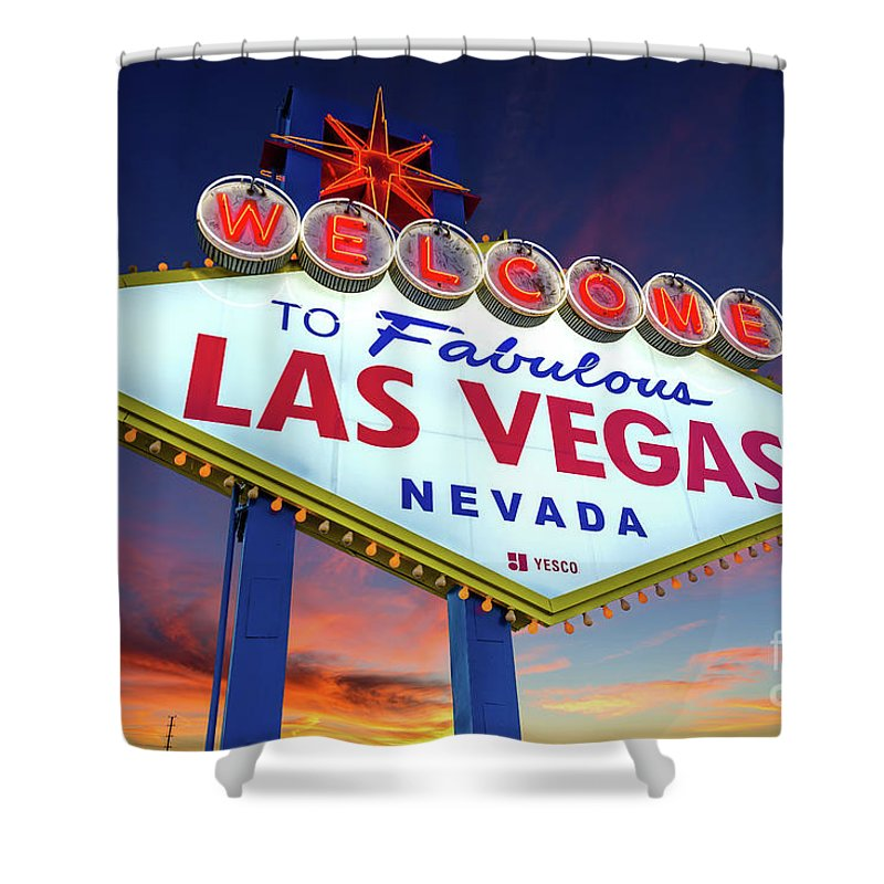 Welcome To Las Vegas Shower Curtain Featuring The Photograph Sign At Dawn