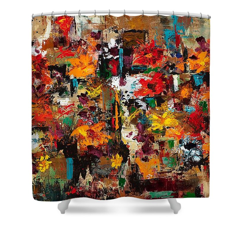 Abstract Flowers Shower Curtain featuring the painting Welcome To My Flower Garden by Frances Marino