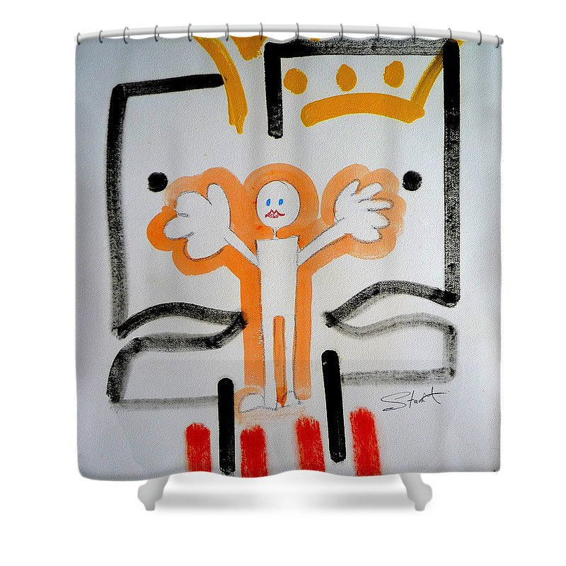 Drawing Shower Curtain featuring the painting welcome to the U N by Charles Stuart