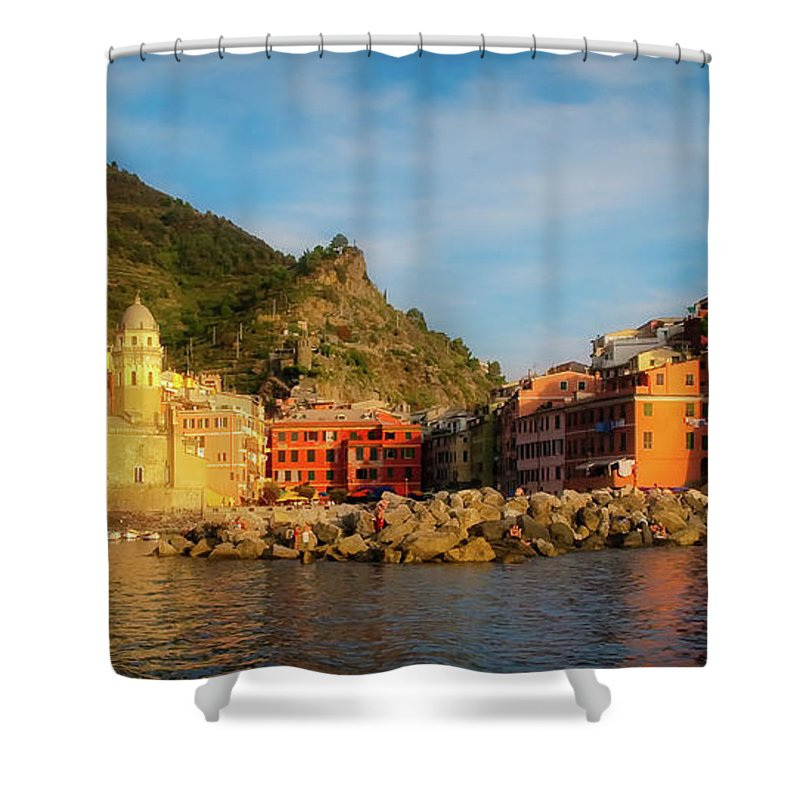 Vernazza Shower Curtain featuring the photograph Welcome To Vernazza by Doug Sturgess