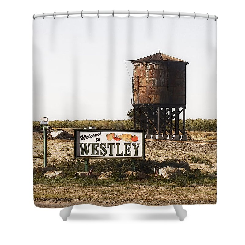Landscape Shower Curtain featuring the photograph Welcome To Westley by Karen W Meyer
