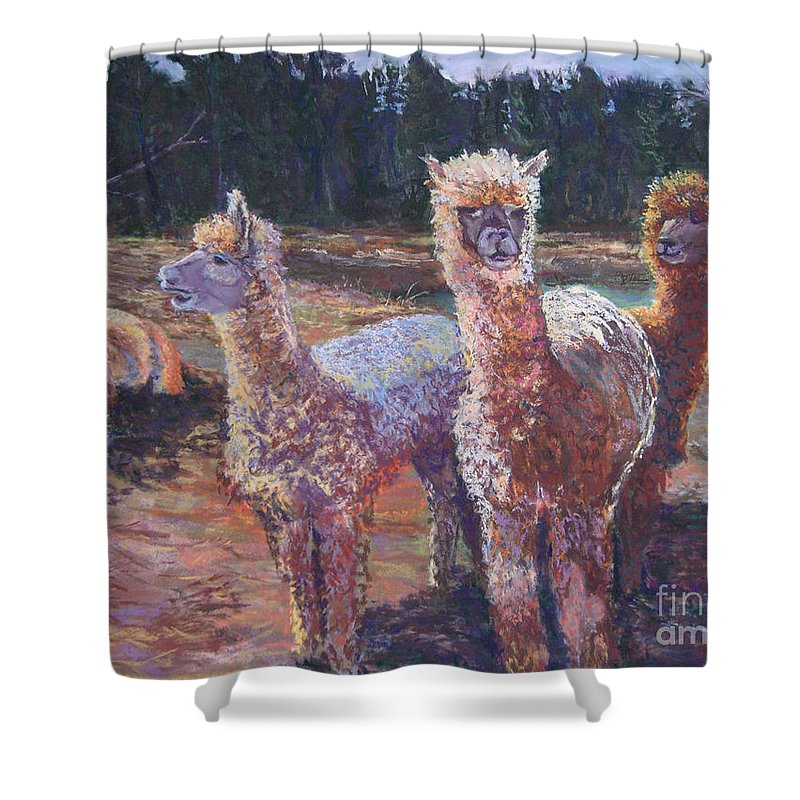 Alpaca Shower Curtain featuring the pastel Welcoming Crowd by Alicia Drakiotes