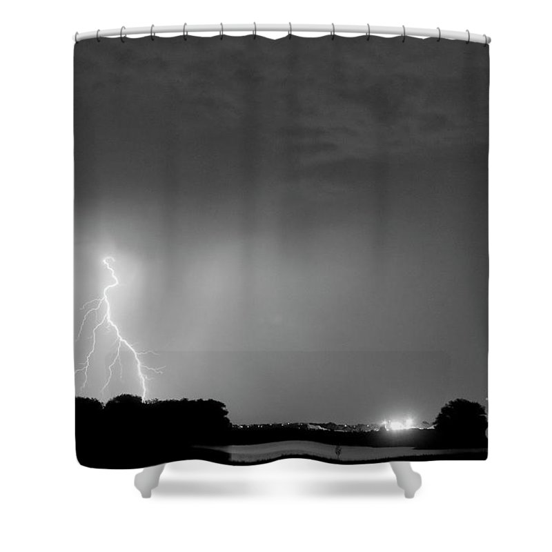 Black Shower Curtain featuring the photograph Weld County Looking East From County Line Co Bw by James BO Insogna