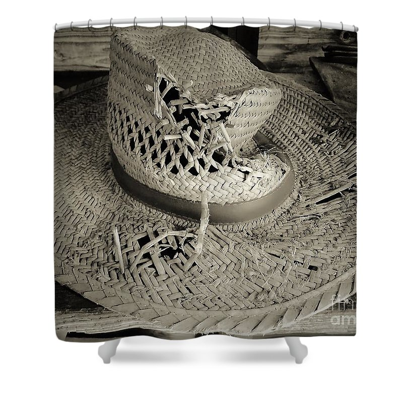 Hat Shower Curtain featuring the photograph Well Worn Sepia by D Hackett