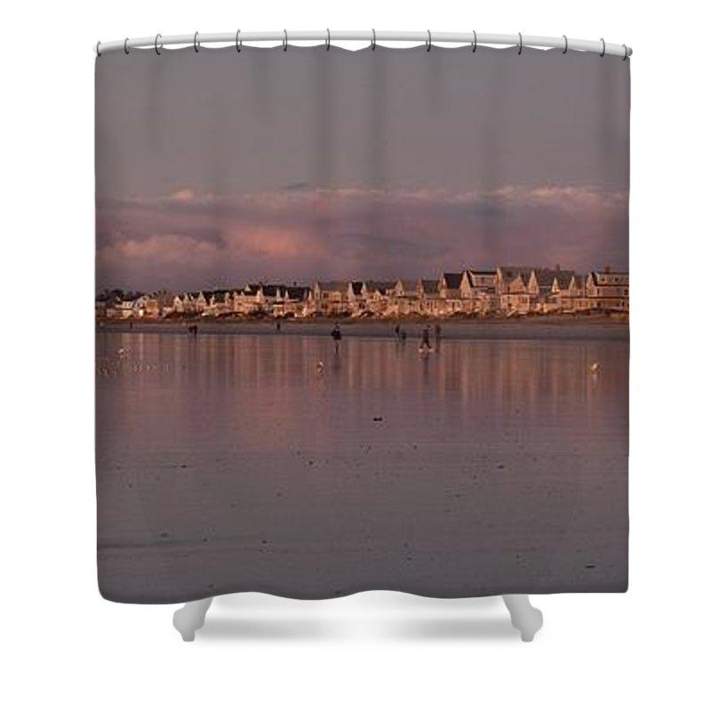 Wells Beach Shower Curtain featuring the photograph Wells Sunrise by Stefanie Beauregard
