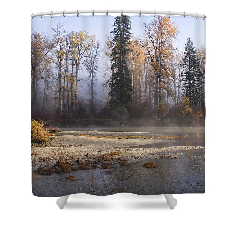 Landscape Shower Curtain featuring the photograph Wenatchee River, Fall 2015 by David Simmer