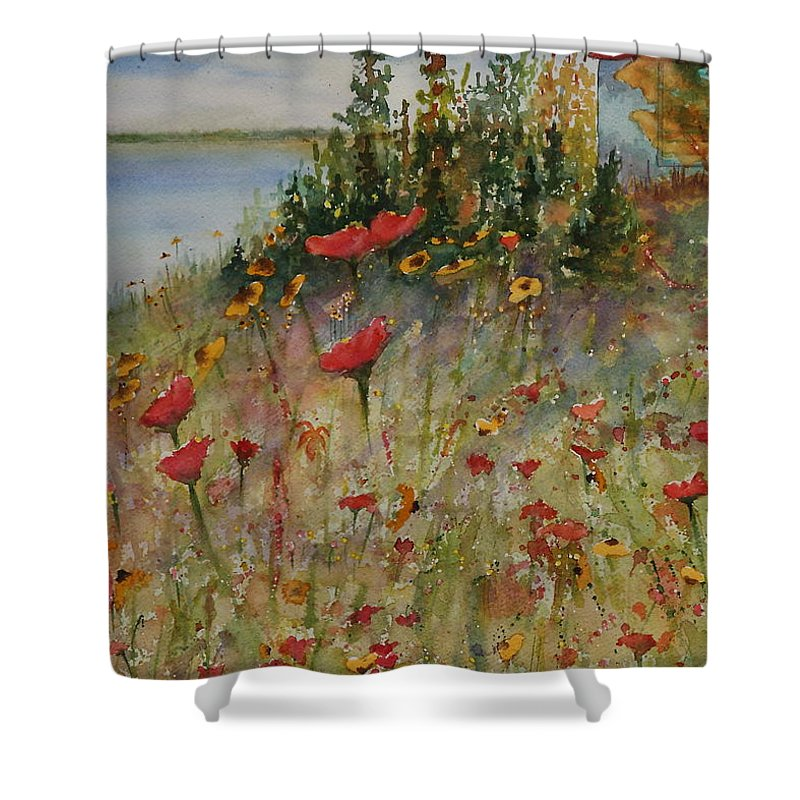 Nature Shower Curtain featuring the painting Wendy's Wildflowers by Ruth Kamenev