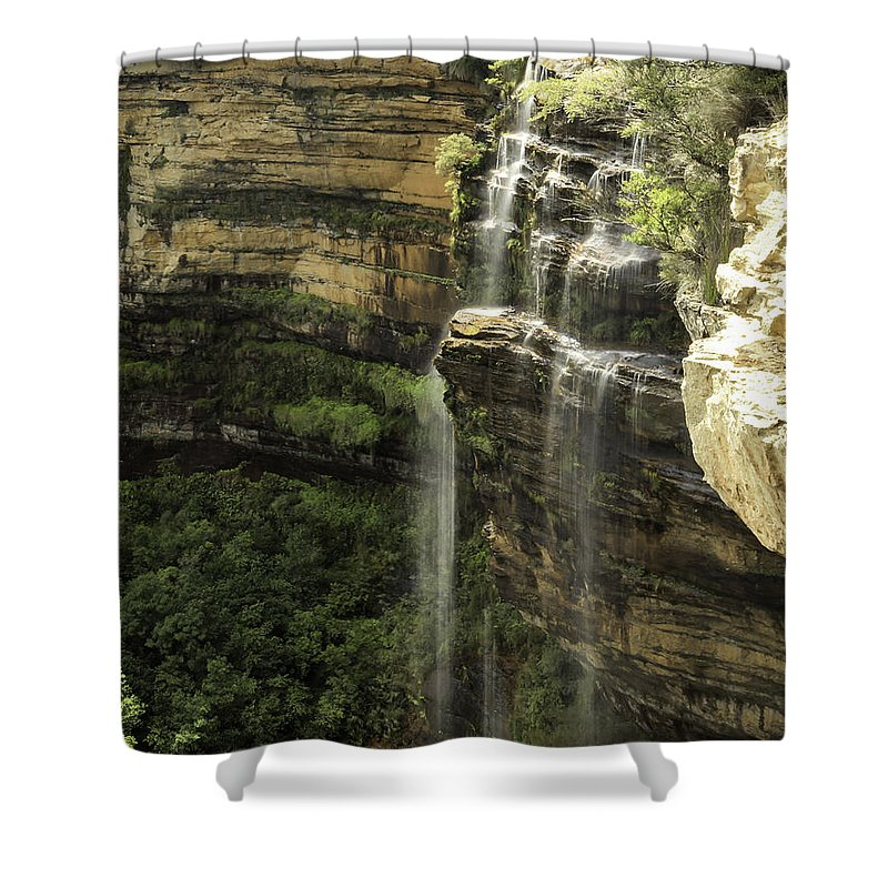 Blue Mountains Shower Curtain featuring the photograph Wentworth Falls by Chris Cousins