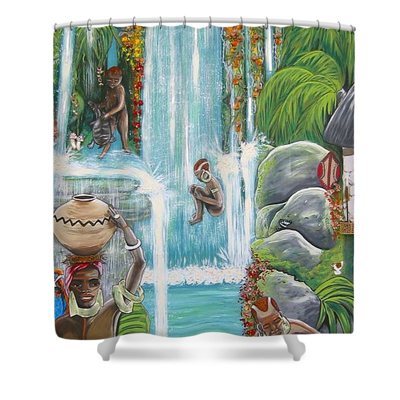 Africa Shower Curtain featuring the painting We're Happy by V Boge