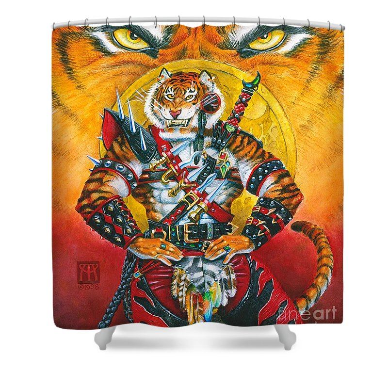 Fantasy Shower Curtain featuring the painting Werecat Warrior by Melissa A Benson