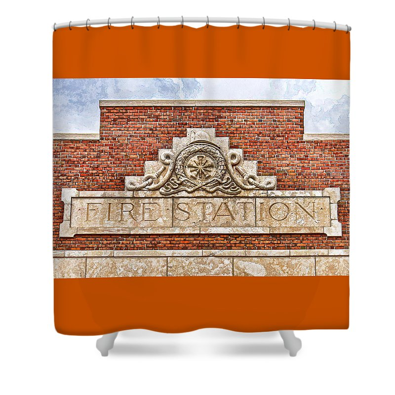 Terracotta Shower Curtain featuring the photograph West Bottoms Fire Station Terracotta Dwc by Kevin Anderson