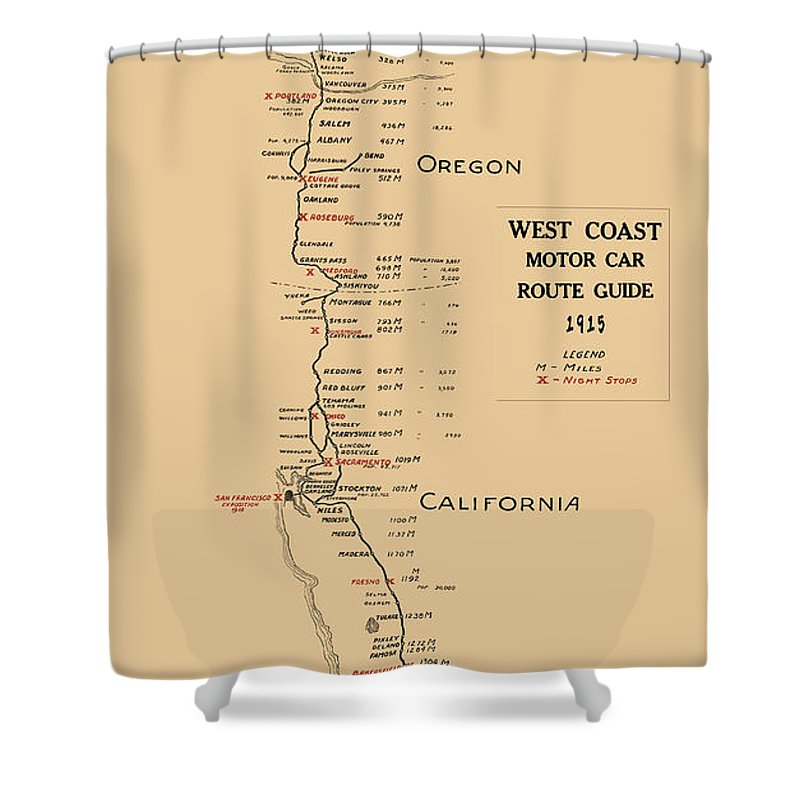 West Coast Motor Car Route Map 1915 Shower Curtain on show direction on a map, driving distance map, driving time map, driving courses, driving weather map, driving map sacramento, shortest distance map, driving schedule map, driving trace map, driving range map, driving street map, driving directions, driving map of europe,