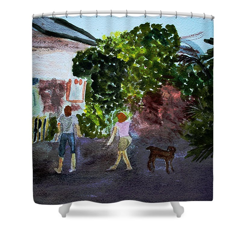 Landscapes Shower Curtain featuring the painting West End Shopping by Donna Walsh