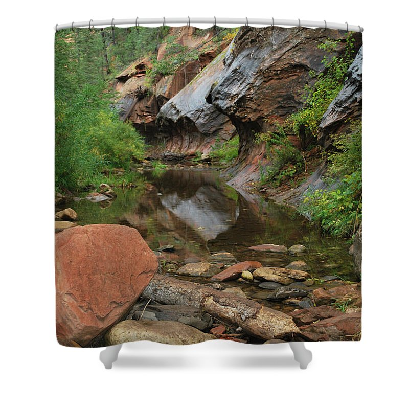 West Fork Trail River And Rock Vertical Sedona Arizona Oak Creek Canyon Wall Water Tree Bush Brush Leaf Pine Reflect Reflection Shower Curtain featuring the photograph West Fork Trail River And Rock Vertical by Heather Kirk