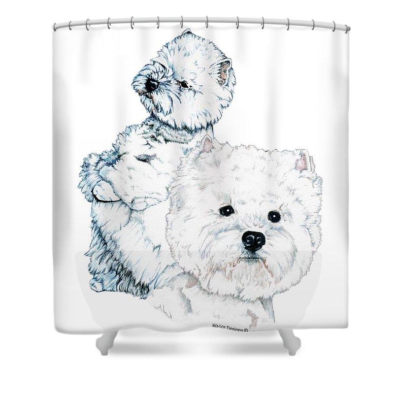 West Highland White Terrier Shower Curtain featuring the drawing West Highland White Terriers by Kathleen Sepulveda