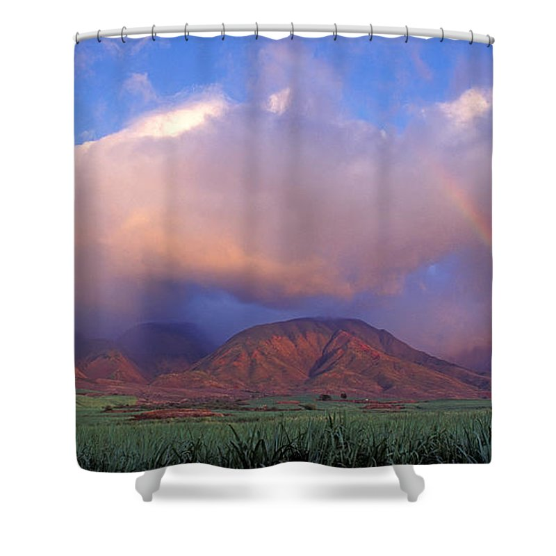 Rural Scene Shower Curtain Featuring The Photograph West Maui Rainbow By David Olsen