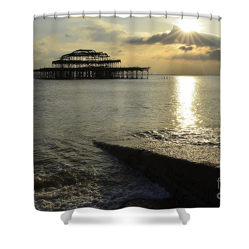 West Pier Shower Curtain featuring the photograph West Pier Brighton by Smart Aviation