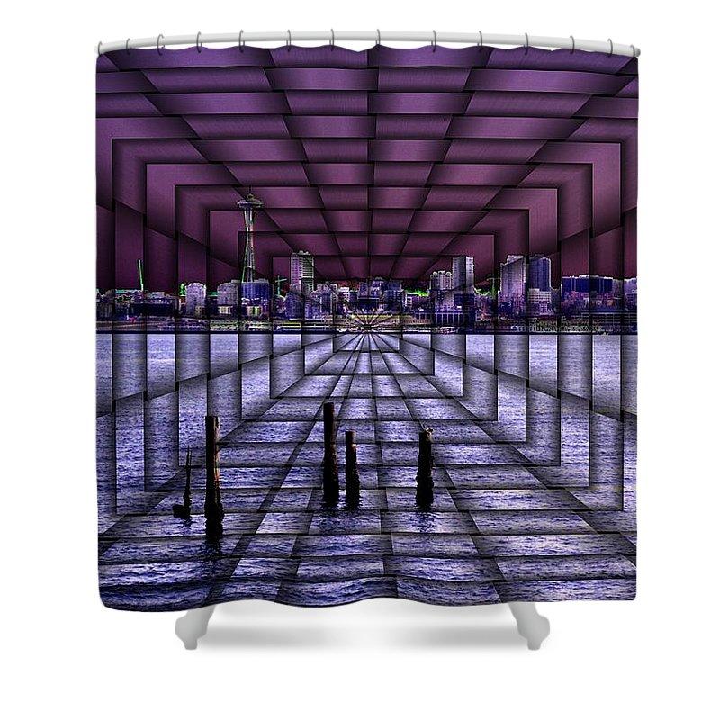 Seattlel Shower Curtain featuring the digital art West Seattle Vortex by Tim Allen