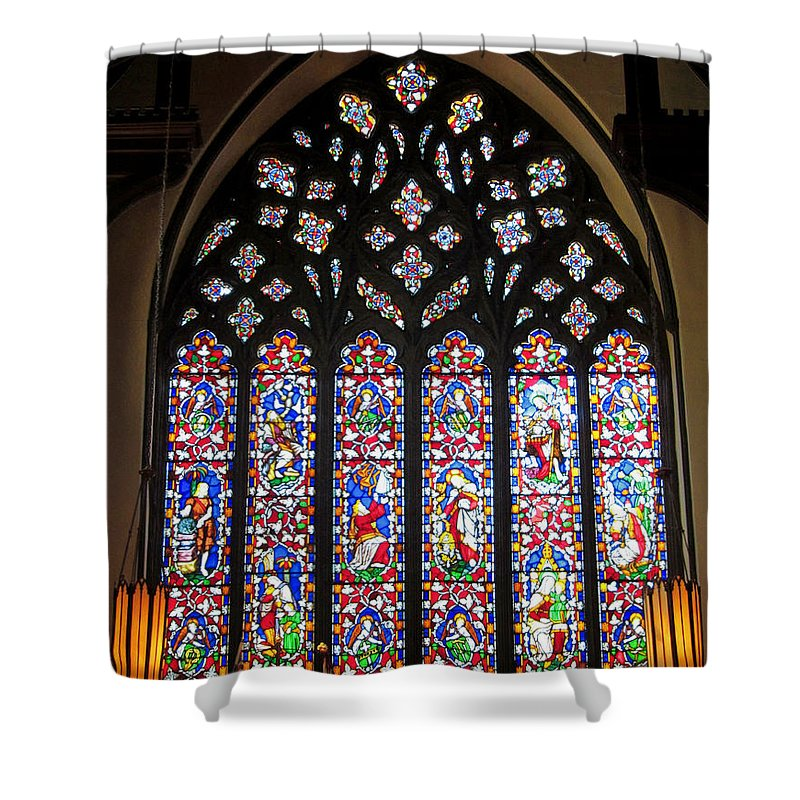 Christ Church Cathedral Fredericton Shower Curtain featuring the photograph West Stained Glass Window Christ Church Cathedral 1 by Mark Sellers