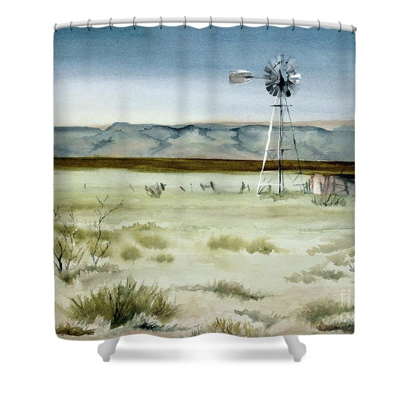 Windmill Shower Curtain featuring the painting West Texas Windmill by Karen Boudreaux