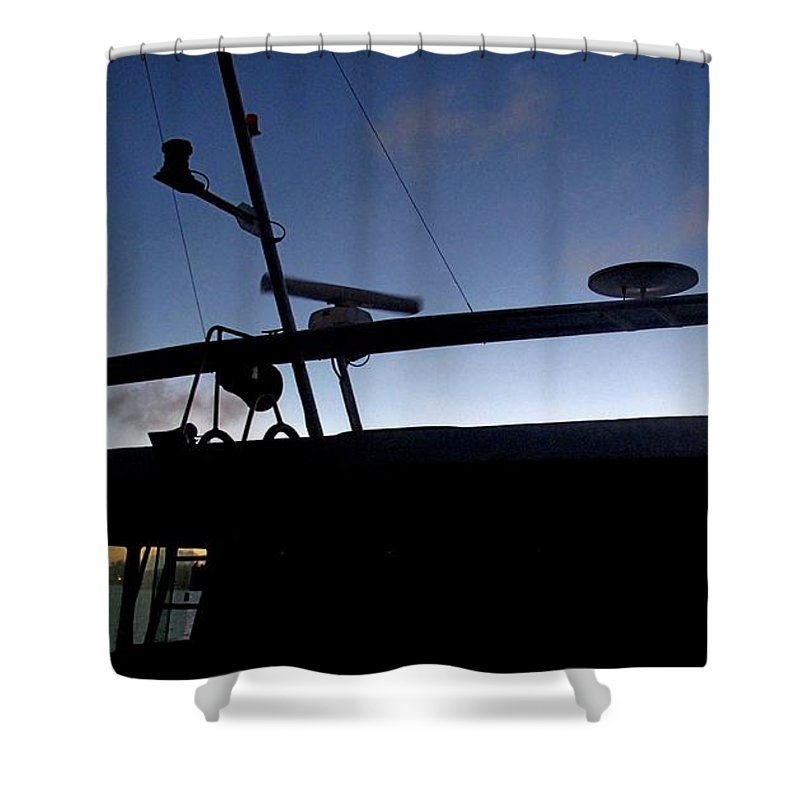 Boat Shower Curtain featuring the photograph West To Sommerset by Ian MacDonald